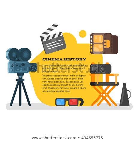 vector flat style set of old cinema icon for online movies stock photo © curiosity