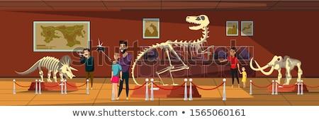 csontváz · szerkeszthető · vektor · sziluettek · sziluett · dinoszaurusz - stock fotó © curiosity