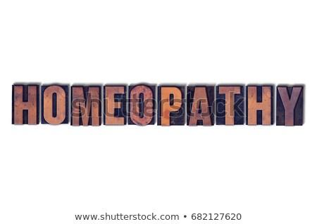 Homeopátia izolált magasnyomás szó írott klasszikus Stock fotó © enterlinedesign