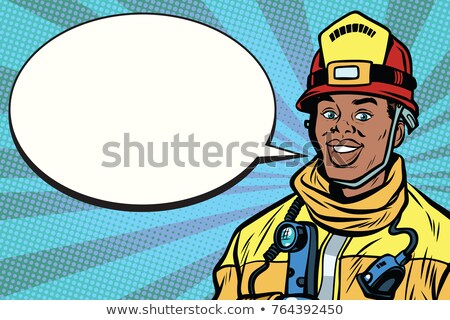 african american firefighter portrait comic bubble stock photo © studiostoks