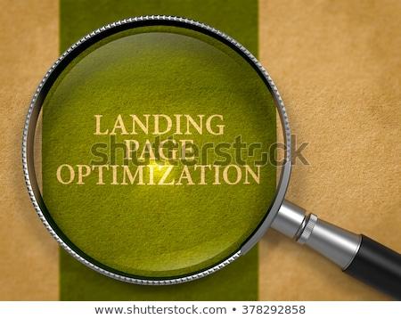 Landung Seite Optimierung Lupe Altpapier dunkel Stock foto © tashatuvango