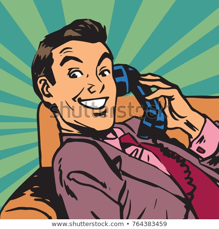 Portré férfi retro telefon pop art iroda Stock fotó © studiostoks