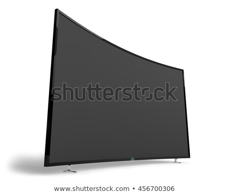 Big wide black TV set isolated on white background. Stock photo © tuulijumala