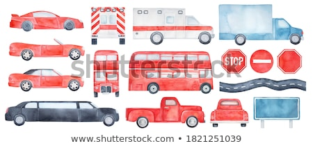 Sticker design with different toys and trucks Stock photo © bluering