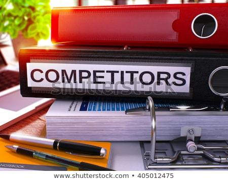 Fekete iroda mappa felirat versenytársak asztali Stock fotó © tashatuvango
