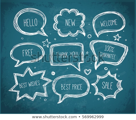 Stockfoto: Design - Cartoon Illustration On Blue Chalkboard