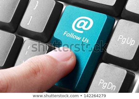 Foto stock: Primer · plano · teclado · escrito · grande · azul