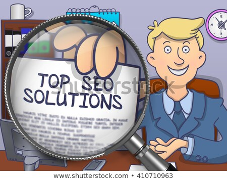 top seo solutions through magnifying glass doodle design stock photo © tashatuvango