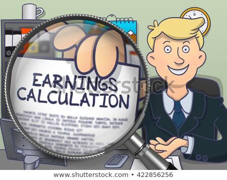 Inkomsten berekening vergrootglas doodle zakenman kantoor Stockfoto © tashatuvango