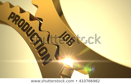 Metal Production Concept. Golden Cog Gears. 3D Illustration. Stock photo © tashatuvango