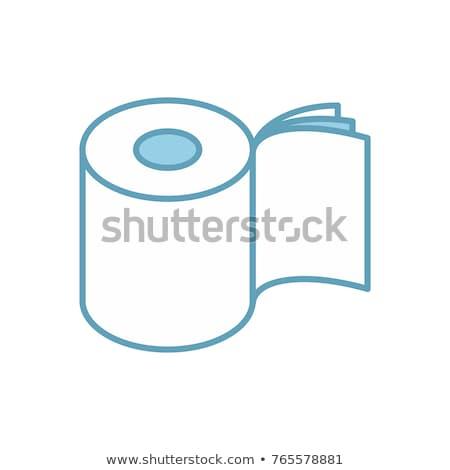 Papier toaletowy trzy warstwy toczyć ikona symbol Zdjęcia stock © popaukropa