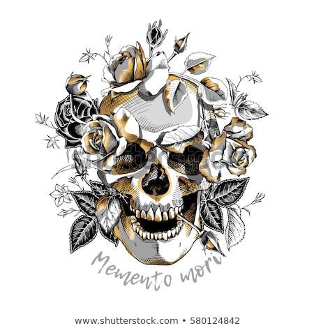 human skull with roses black and white stock photo © kariiika