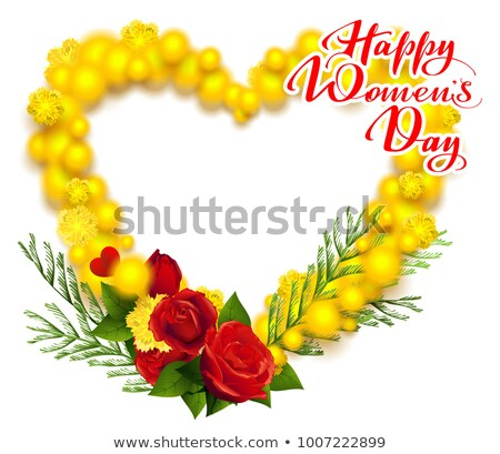 Happy Womens Day March 8 text. Yellow mimosa and red rose wreath heart shape greeting card Stock photo © orensila