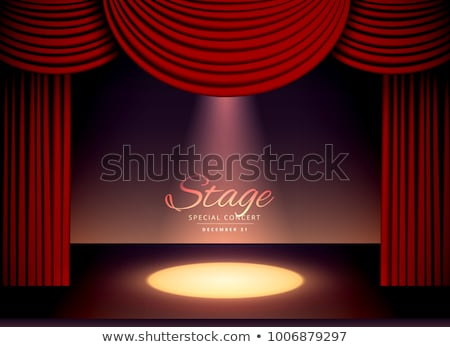 theater scence with red curtains and falling spot light Stock photo © SArts