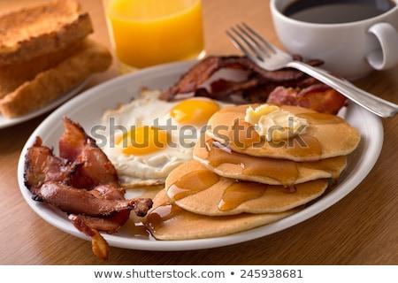 ストックフォト: 卵 · ベーコン · プレート · ドリンク · サイド · 実例