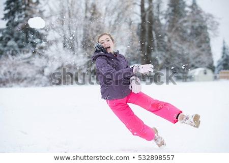 Tini lányok hógolyó verekedés jókedv profil Stock fotó © IS2