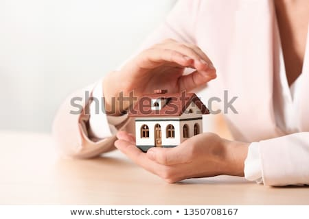 Insurance agent protecting model of the house. Stock photo © RAStudio