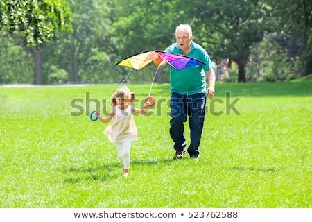 Nagyapa leányunoka tart papírsárkány férfi gyermek Stock fotó © IS2