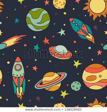 Space transport seamless pattern. Spaceship rocket and satellite Stock photo © popaukropa