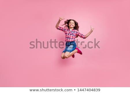 Dois meninas saltando trampolim criança diversão Foto stock © IS2