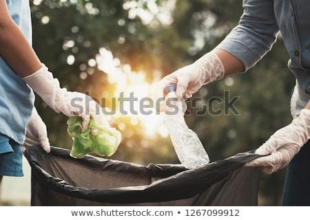 Man omhoog prullenbak illustratie meisje Stockfoto © bluering