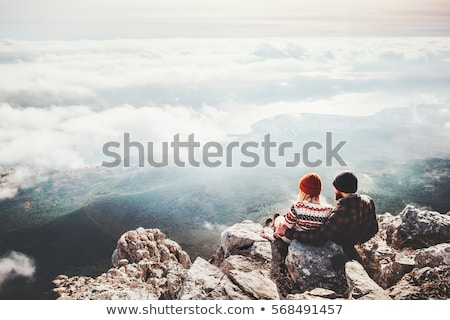 paar · dating · park · gelukkig · jonge · vergadering - stockfoto © lithian