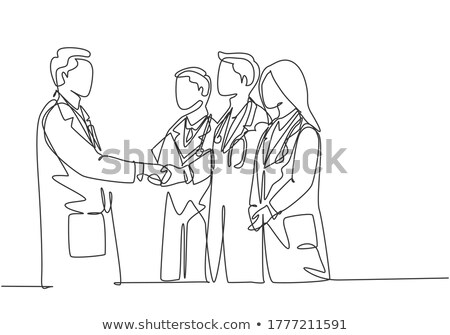 vector illustration of people working together. male female one head. teamwork concept. stock photo © kyryloff