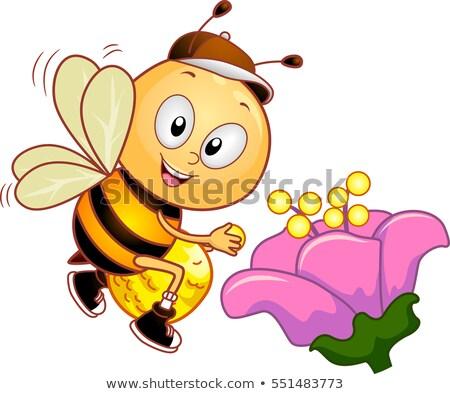 Méh virágpor táska kabala illusztráció aranyos Stock fotó © lenm