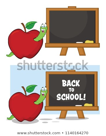 Happy Worm Cartoon Mascot Character In A Red Apple With A Back To School Chalk Board Stock photo © hittoon