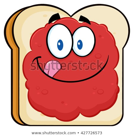 Toast Bread Slice Cartoon Character Licking His Lips With Jam Stock photo © hittoon
