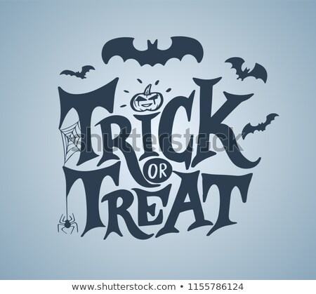 Stock photo: Happy halloween hand writing ornate text greeting card
