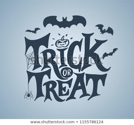Happy halloween hand writing ornate text greeting card Stock photo © orensila