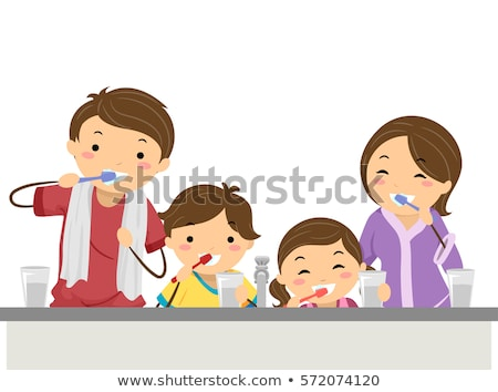 nino · nina · limpieza · dientes · bano - foto stock © lenm