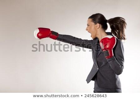Zakenvrouw handschoenen uitdagen illustratie mooie jonge vrouw Stockfoto © lenm