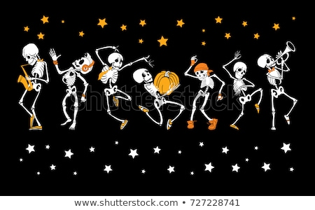 Vector cartoon human skeleton dancing halloween party Stock photo © orensila