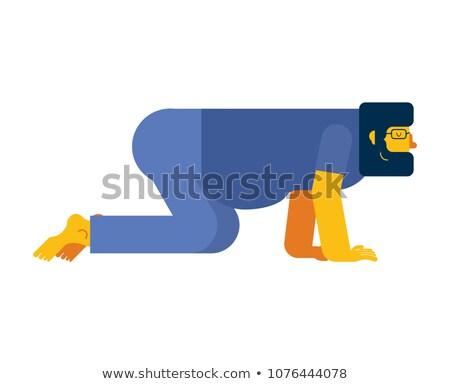 Man alle geïsoleerd baard handen Stockfoto © popaukropa