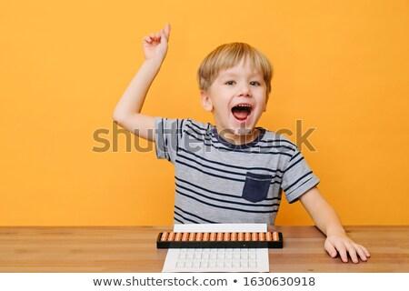 Fiú abakusz illusztráció gyermek művészet oktatás Stock fotó © bluering