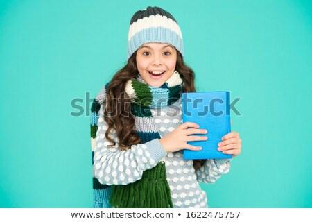 çocuk kız benim şiir kitap örnek Stok fotoğraf © lenm