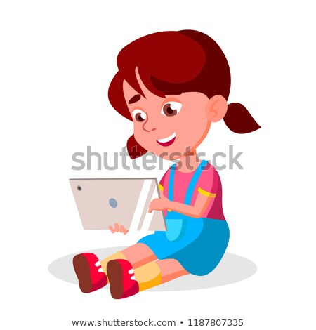 children s gadget dependence vector social network modern problem watching video playing game is stock photo © pikepicture