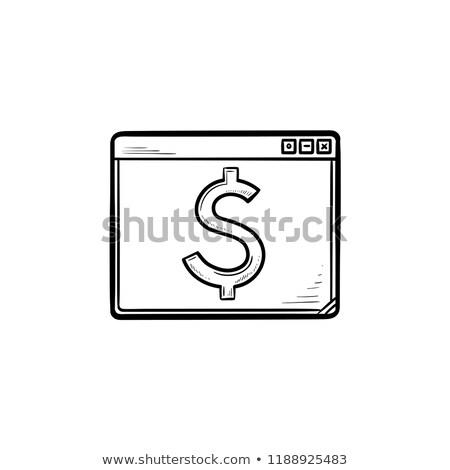 Stock fotó: Böngésző · ablak · dollárjel · kézzel · rajzolt · skicc · firka