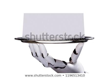 Robotachtige hand lege kaart plaat witte Stockfoto © AndreyPopov