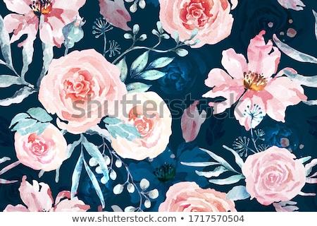 Stockfoto: Witte · steeg · blauwe · bloem · patroon · vector