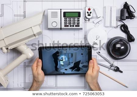beveiligingsapparatuur · blauwdruk · kantoor · brand - stockfoto © andreypopov