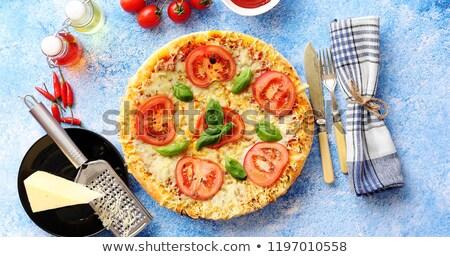 Włoski pizza serwowane niebieski kamień Zdjęcia stock © dash
