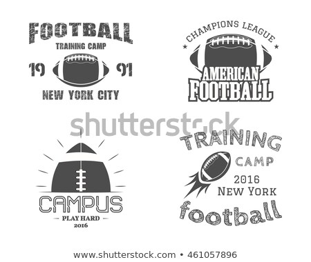 american football logo emblem usa sports badge in silhouette style monochrome logotype design with stock photo © jeksongraphics