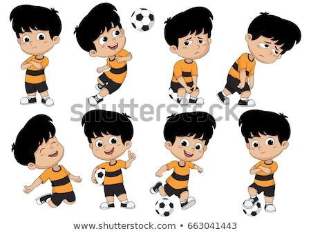 fiú · játszik · futball · boldog · haj · labda - stock fotó © cthoman