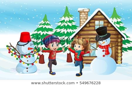 Dos ninos muñeco de nieve cabina casa ilustración Foto stock © colematt