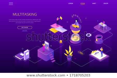 Multitasking concept - modern colorful isometric vector illustration Stock photo © Decorwithme