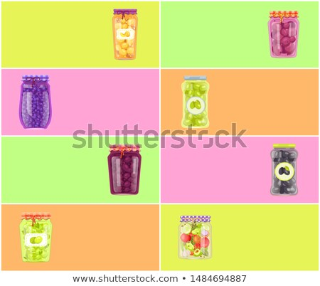 Preserved Food Posters Tomatoes and Blueberries Stock photo © robuart