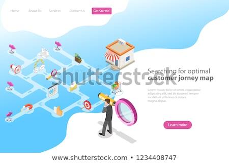Stock fotó: Izometrikus · vektor · leszállás · oldal · sablon · vásárló